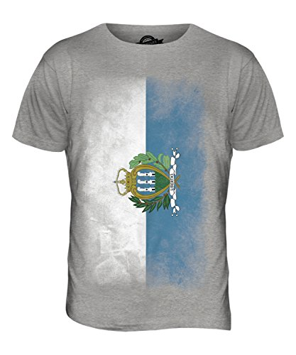 CandyMix São Tomé Und Príncipe Verblichen Flagge Herren T Shirt Grau Meliert