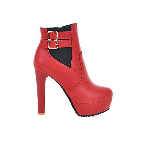AgooLar Damen Hoher Absatz Weiches Material Niedrig Spitze Rein Reißverschluss Stiefel Rot