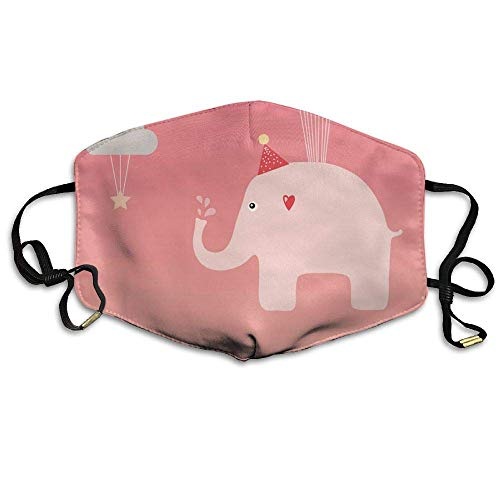 Rghkjlp Pink Fly Elephant Clouds Printed Mask Neutral Mask for Men and Women Polyester Dust-Proof Breathable Mask - Cloud-schüssel