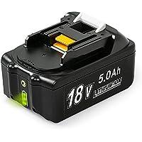 NeBatte BL1850B 18V 5,0 Ah Lithium batterie remplacement pour Makita BL1860B BL1860 BL1850B BL1850B BL1840B BL1840 BL1830B BL1830 BL1820 LXT-400 avec indicateur