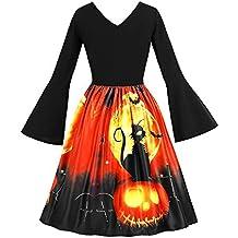 Rawdah- Clearance,vestito donna elegante cerimonia,Vestiti da donna,Cerimonia,Cocktail Manica lunga Vintage zucche Halloween Sera Ballo di fine anno Costume Swing Vestito