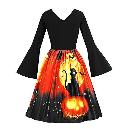 Winsummer Halloween-Kleid für Damen, langärmelig, Cocktail-Schaukelkleid, Skelett, Kürbis-Druck, Cosplay-Party-Kostüm Medium (Macht Ein Skelett Kostüm)