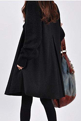 Un Hiver Cowl Cou Droit Des Trench - Coats Cape Vêtements Black