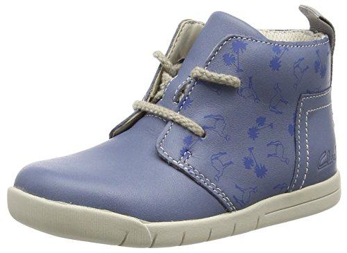 ClarksCrazy Peck Fst - Sneaker per neonati Unisex - Bimbi 0-24 , Blu (Blau (Denim Blue Lea)), 20