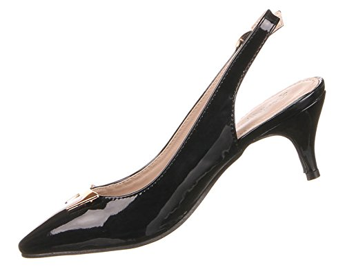 Damen Schuhe Pumps Slingbacks Mit Gold Deko Schwarz