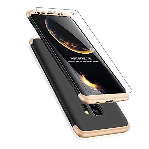 Samsung Galaxy S9+/S9 Plus Hülle + Panzerglas, Lanpangzi Samsung Galaxy S9+/S9 Plus 360°Schutzhülle PC Hartschale 360 Grad Full-Cover Anti-Schock HandyHülle Anti-Kratz Stoßfänger Case mit Panzerglasfolie,Gold+Schwarz