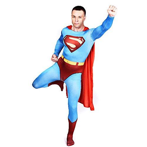 Herren Ganzkörperanzug Superman #1 Kostüm Superhero Hero Held Comic Superheld, (Kostüme Superman Lycra)