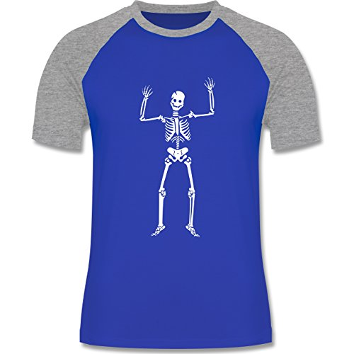 Halloween - Skelett Skeleton - zweifarbiges Baseballshirt für Männer Royalblau/Grau meliert