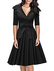 Miusol® Damen Reverskragen V-Ausschnitt Zweireiher Marine Stil Rockabilly Cocktailkleid mit Gürtel 60er Jahr Party Kleid