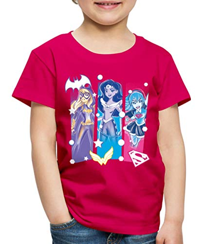 Spreadshirt DC Super Hero Girls Batgirl Wonder Woman Supergirl Kinder Premium T-Shirt, 110/116 (4 Jahre), Dunkles Pink -