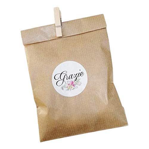 20 kit Confettata, sacchetti carta kraft, 10x16 centimetri, mollette, adesivi grazie, avana, bustine carta, sacchetti carta confetti, confettata, sacchettini kraft kit