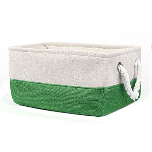 Zusammenklappbar Bettwäsche Lagerung (sourcingmap Stoffbox Aufbewahrungsbox Lagerung Körbe für Spielzeug, Kleidung Organizer Wäschekorb Behälter Grün S DE de)