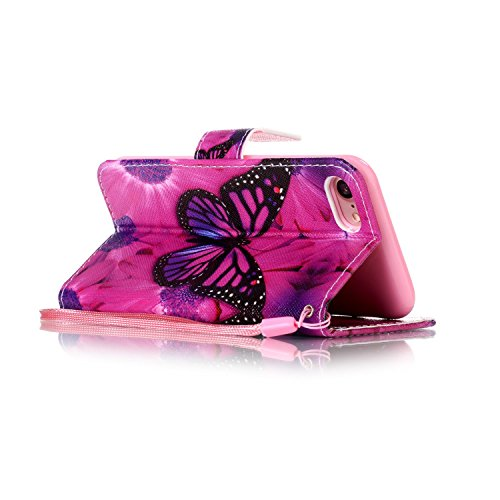 """Für iPhone 7 4.7"""" Gurt Strap Magnetverschluß Ledertasche Hülle,Für iPhone 7 4.7"""" Premium Seil Leder Wallet Tasche Brieftasche Schutzhülle,Funyye Stilvoll Jahrgang [Bunt Muster] Schutzhülle Wallet Case Schwarz Schmetterling"""