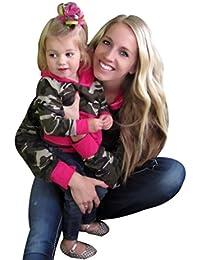 Ropa para toda la familia, Yannerr bebé niño chica mujeres hombre madre hija manga larga invierno emparejar traje sudadera con capucha Camuflaje Tops pijamas conjunto