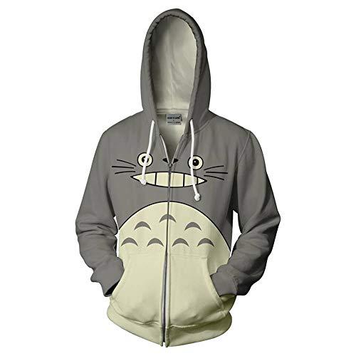 Effekt-jugend-t-shirt (Zhuwy Herren Hoodie Kapuzenpullover Tunnelzug Pullover Langarm Sweatshirt 3D Druck Unisex Kapuzenjacke Mit Taschen Tonari No Totoro L)