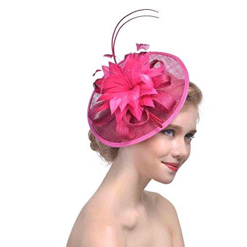 xwanli Damen Fascinator Blumen Netz Braut Blume Haarclip Stirnband Kopfschmuck Haar Clip Hut Feder Haarschmuck Kopfbedeckung für Party Kirche Hochzeit Cocktail