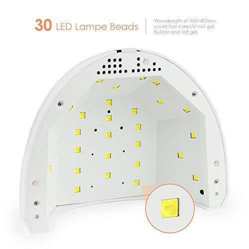 UV LED Nagellampe mit 2 Modi (24W/48W), ELEPOWSTAR UV LED Nageltrockner für Shellac und Gelnagellack, Timing Funktion (5s/30s/60s), LED Nagellampe für Haus und Salon