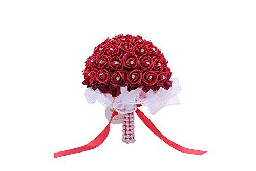 Hochzeit Brautschmuck Blumensträuße mit künstlichen Rosen Spitze Kristall Perle Schleife und romantischer Double Layer Rock Design Hochzeit Blumensträuße für Brautjungfern und Braut Claret-red -