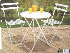 Sitzgruppe Gartentisch mit 2x Klappstühlen Balkon Klapptisch Stuhl Tisch