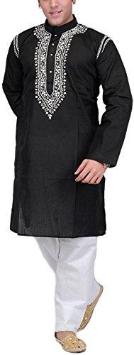 Exotic Men's India Pure Cotton Kurta Pyjama (SPC56-44 Black_44)