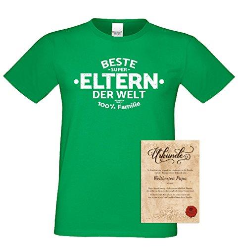 Geburtstagsgeschenk Vatertagsgeschenk Muttertagsgeschenk Geschenkidee für Sie und Ihn Eltern Papa oder Mama:-: Beste Eltern der Welt :-: Herren kurzarm T-Shirt :-: Farbe: hellgrün Hellgrün