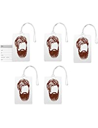 Luggage Tags- Designer Beard Print Fancy High Quality PVC Travel Bag Tag With Silicon Strap-Pack Of 5