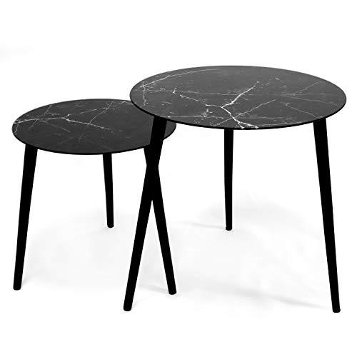Jonas – Set mit 2 Tischen, rund, skandinavisch, (1 klein + 1 groß), Couchtisch aus Hartglas, Marmor-Effekt, 3 Füße