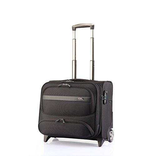 """Verage Elite Trolley Schwarz M-42 cm (16.5"""") Koffer Suitcase Handgepäckkoffer Reisekoffer Spitzenverarbeitung Kabinentrolley Pilotenkoffer mit Teflon Beschichtung, Wasser/Öl/Dreck-abweisend"""