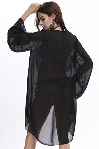 Le Donne Sexy Benda Chiffon Alto Basso Beachwear Bikini Coprire Vestito Black