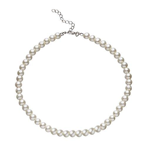 BABEYOND Round Imitation Pearl Choker Necklace Wedding Pearl Necklace for Brides White (Diametro di perla 8mm)