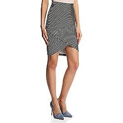 oodji Ultra Mujer Falda de Punto con Parte Inferior Asimétrica, Negro, ES 40 / M