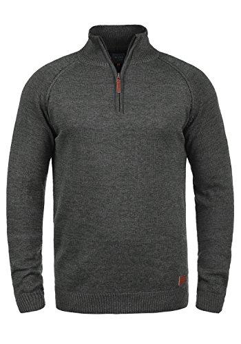 BLEND Danovan Herren Strickpullover Troyer Feinstrick Pullover Mit Stehkragen Und Reißverschluss, Größe:XL, Farbe:Charcoal (70818)
