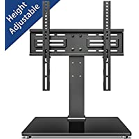 FITUEYES Tabletop TV Stand Mount with Security Wire for 26''-55'' LCD LED TV - 6 Level Height Adjustable with Tempered Glass Base Max VESA 400x400 TT103701GB