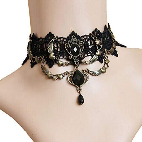 Kingus Punk Black Lace Gothic Lolita viktorianischen Choker Perlen Kette Anhänger Halskette Armband für Halloween und Weihnachtsfeier, ()