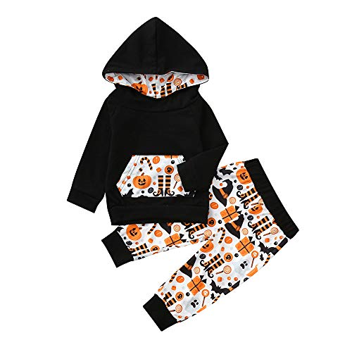 Kobay Infant Baby Jungen Mädchen Cartoon Kapuzen Tops + Hosen Halloween Kostüm Set(3-6M,Schwarz)