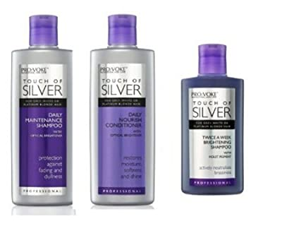 Pro:Voke Set Of 3 - Touch Of Silver - Silver Daily Maintenance Shampoo 200ml, Daily Nourish Conditioner 200ml & Twice A Week Brightening Shampoo 150ml