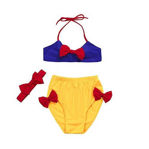 Innerternet baby costume da bagno da bimba nuotare con fascia di cappelli principessa bikini vintage eleganti mare piscina spiaggia estivi 1-6 anni (età: 4-5 anni, blu)