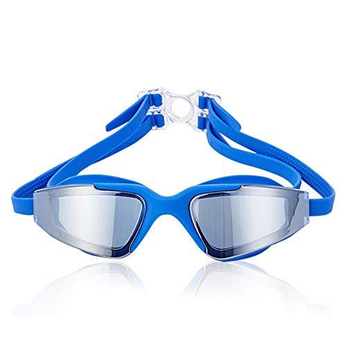 MRENF Schwimmbrille, Schwimmbrille mit Antibeschlag und UV Schutz, Schutzbrille HD mit Flacher, Heller Fassung, wasserdichte Antibeschlag-Schwimmbrille, Unisex, blau 2