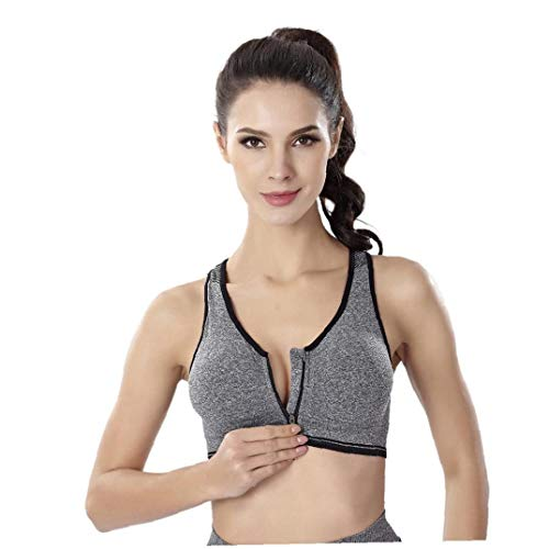 Zonfer Frauen Sport-BH Mit Front-Reißverschluss-Means Schlag Nahtlose Yoga-BH Mit Herausnehmbaren Polstern Für Gym Fitness (Sport-bh Mit Front-verschluss)