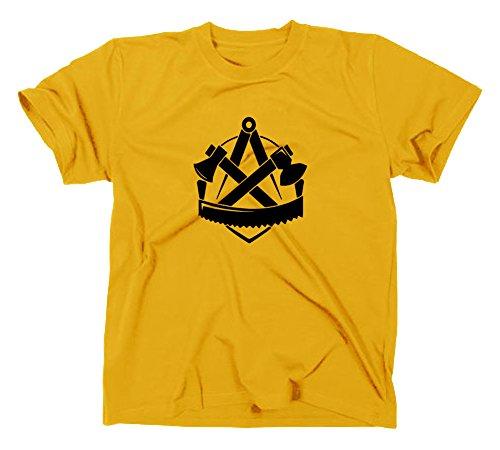 Zimmerer Zunft Logo T-Shirt, Zunftzeichen Zunftlogo Symbol, XL, gelb (Gelb T-shirt Symbol)