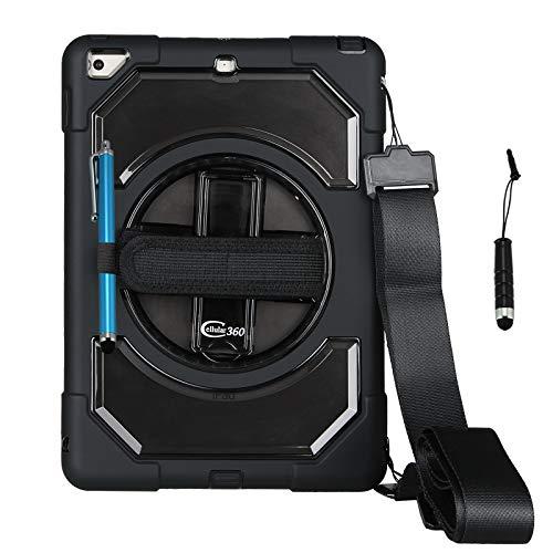 Cellular360 iPad 9.7 2018/2017 Hülle iPad 5. Gen. iPad 6. Gen. Kopfstützenhalterung Shockproof Gehäuse mit 360 Grad drehbarem Griff, Stifthalter und Schultergurt Combo (Schwarz)