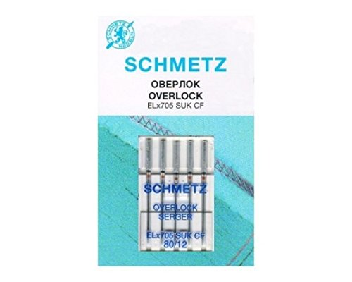 5 Schmetz Agujas para Máquinas de Coser para máquinas overlock ELx705 SUK CF grosor{80}/ 12