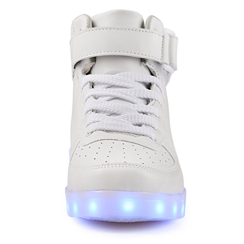 tuluo Kid e uomo e donna USB carica LED 7 Colori High Top Sneakers Luce Scarpe White