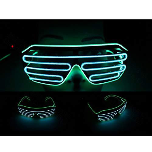 Green Kostüm Tanz - Windtor mit blinkenden Shutter-Brille, El-Draht-Neon-Sonnenbrille, LED-Leuchten, DJ-Kostüme, für Tanz, Club, Party, Festival, Green Frame Blue Mirror
