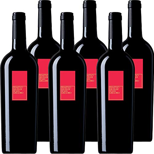 Primitivo Feudi di San Gregorio | Vino Rosso della Puglia | Confezione 6 Bottiglie da 75 Cl | Idea Regalo