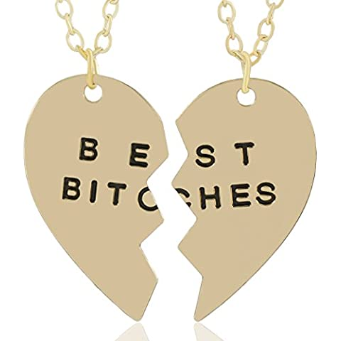 MESE London Best Bitches Ciondolo Oro Due Collane Da Amiche – Scatola Regalo Elegante