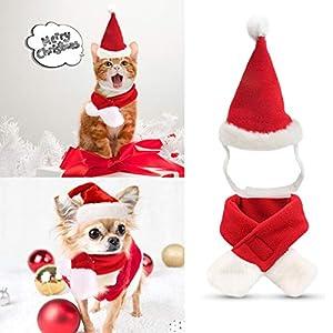 Chapeau de noël pour animaux, Techrace Coiffe pour animaux de compagnie Bonnet de Noël ajustable + écharpe Convient aux lapins et aux chats de petite taille, Déguisement de Noël pour animaux de compagnie