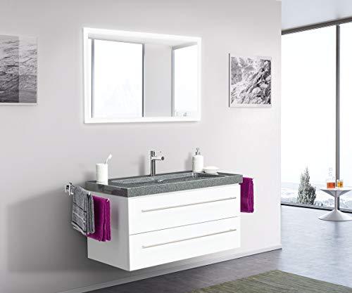 Emotion Damo en Blanc Brillant avec Simple Vasque en Granit G654 100cm & Miroir à LED