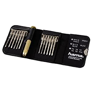 "Hama 13-Piece ""Mini Screwdriver Kit"" (Magnetizable, Torque, Slot, Cross-Slot) for Clocks, Glasses, Model Building, Mobile Phone, PC, Laptops"