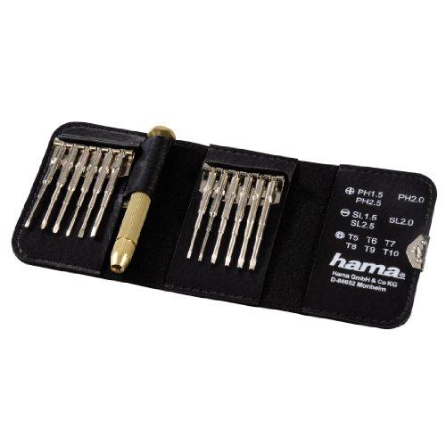 Hama Feinmechaniker Mini Schraubendreher-Set für Uhr, Brille, Modellbau, Handy, PC, Laptop (Magnetisierbar, Torque, Schlitz, Kreuzschlitz) Werkzeug-Set 13-teilig